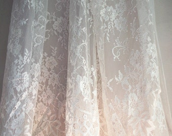 Chantilly lace fabric, French style lace, bridal chantilly lace, wedding lace fabric with scalloped edge, lace supplies for couture