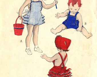Vintage 50s Butterick 6144 Toddler Ruffled Romper, Playsuit and Bonnet Sewing Pattern