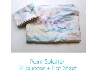 Paint Splatter Sheet & Pillowcase
