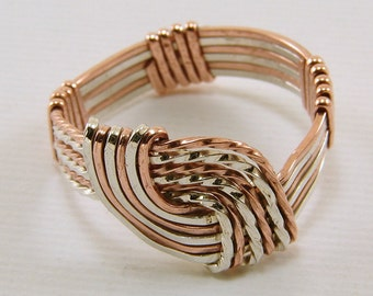 Mixed Metals, Sterling Silver and Copper, Wire Wrapped Hug Ring - Any Size, Made to Order
