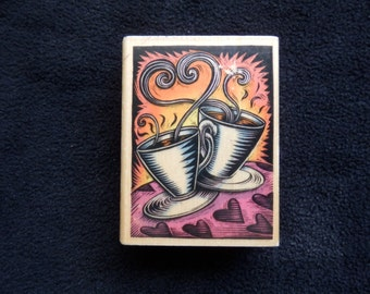 Coffee stamp -Latte - Espresso- Java - Just for you - friendship - WM rubber stamp (1)