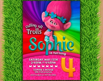 Trolls Poppy Invitation - Trolls Birthday invitation - Trolls Digital Invitation - Trolls Party - Trolls Poppy - Trolls invitations - Trolls