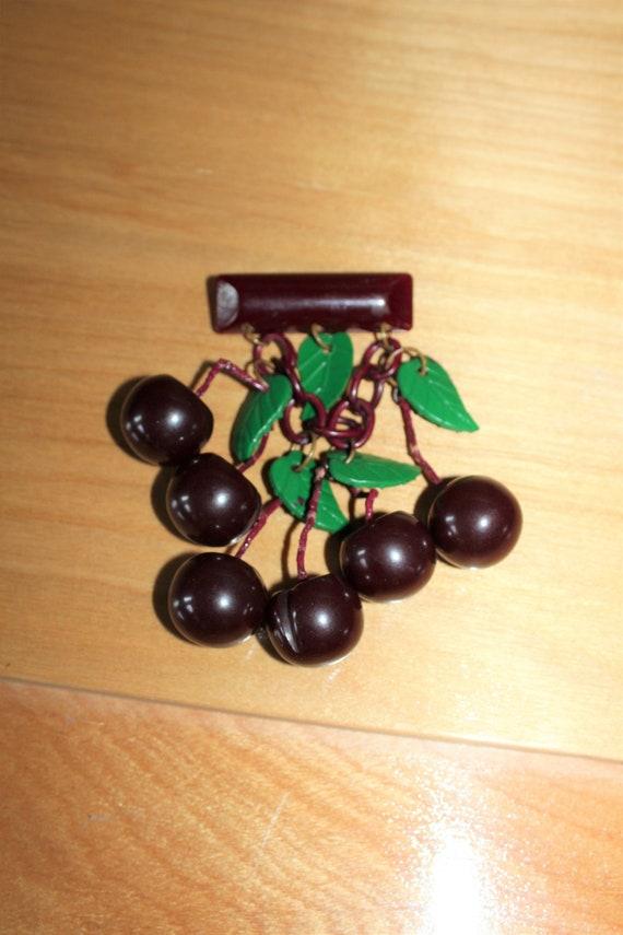 Vintage Carved Black Cherry Bakelite Pin Brooch 1930s Art Deco Jewelry