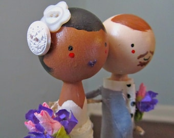 MeltingPotLove Custom Interracial Wedding Cake Topper