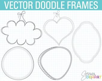 80% OFF SALE Digital Frames, Doodle Frame Clipart, Doodle Clipart, Hand Drawn Clipart, Frames Clipart, Doodle Frame, Doodle Clip Art