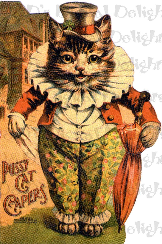 Pussy Capers Vintage Catkitty Digital Illustration Digital-7271