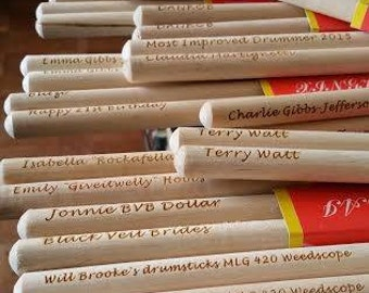 Personalised Drumsticks (Sizes 5A, 5B or 7A)