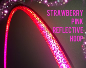 """Strawberry Pink Reflective HDPE or Polypro 5/8"""" 3/4"""" Dance & Exercise Hula Hoop - NOT an LED hoop"""