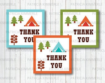Printable Thank You Tag,Camp theme, Nature, Summer Party, Outdoor, Camping topper, Camp Out, First Birthday,Decorations,  INSTANT DOWNLOAD