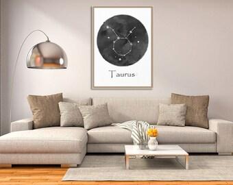 Taurus Watercolor, Taurus Zodiac, art print, Taurus art, Zodiac poster, home decor, Astrology Art, wall art, Taurus Sign, Birthday Gift Idea