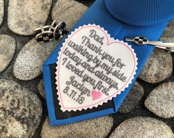 Wedding gift for dad from Daughter, Dad I loved you first wedding Tie Patch, EMBROIDERED tie labe, heart shaped patch, iron-on available
