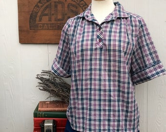 Vintage 1960's Plaid Short Sleeve Blouse