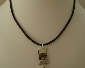 Grey liberty cube charm necklace