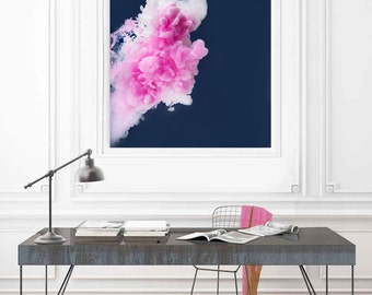 Large Pink Art, Oversized Square Wall Art, Huge Navy Art Print, Large Art Prints, Art by Jessica Kenyon