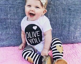 Olive you baby onesie