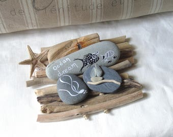 Ocean dream painting on pebbles and slate backed Driftwood
