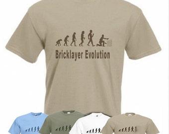 Evolution To Bricklayer t-shirt Funny Masonry Brickie T-shirt sizes Sm TO 2XXL