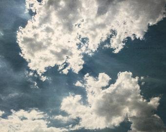 Dark Blue Wall Print or Canvas Art, Navy Blue Decor, Dramatic Cloud Print, Blue Nature Print, Texas Art, Clouds Picture.