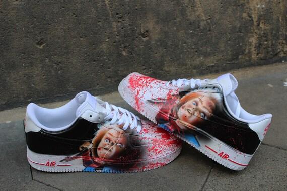 Nike Air Force One CHUCKY personnalisé peint à la main Sneaker horreur  chaussures