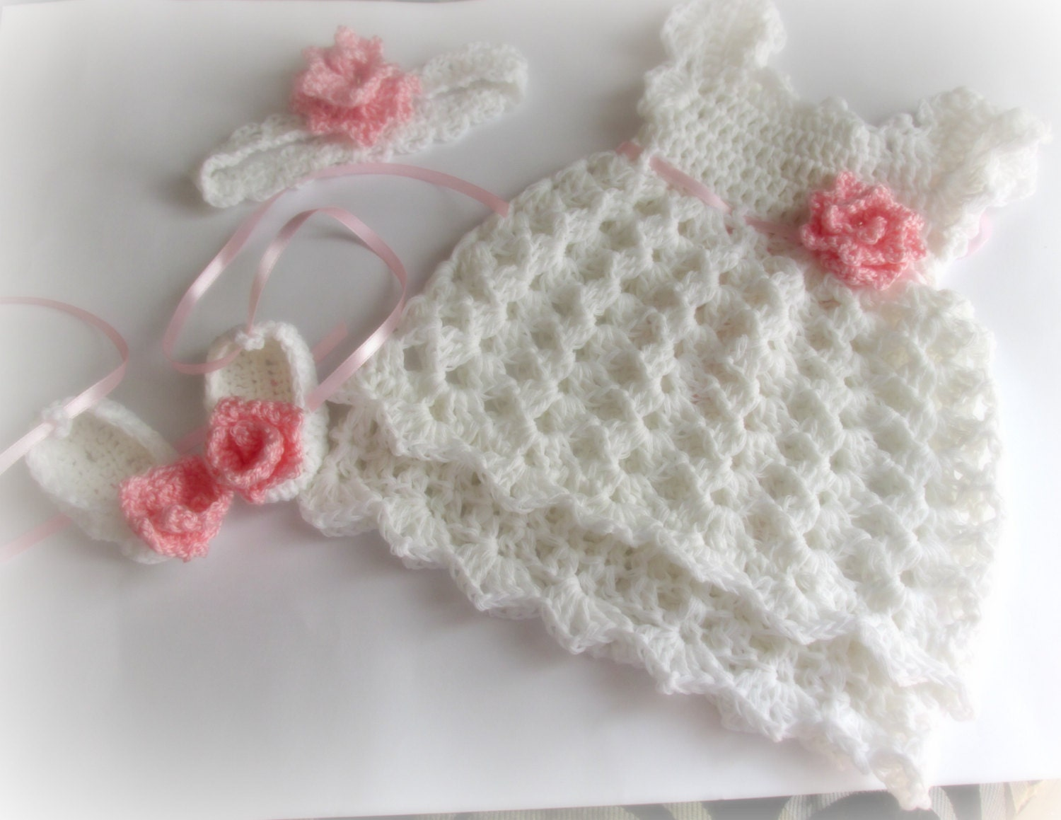 Preferenza Baby Girl Abito Crochet neonato uncinetto Dress Abiti da OW47