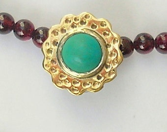Turquoise, Garnet, silver and gold necklace, Israeli jewelry, made in Israel