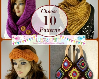 PATTERN DISCOUNT - CHOOSE 10 - Knitting & Crochet Patterns Your choice of 10 patterns Instant Download Tutorials with clear instructions.