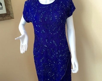 SUMMER CLEARANCE Vintage 1980s Royal Blue Beaded Flapper Style Dress