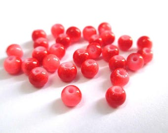 20 two-tone pink and red glass beads 4mm (U-24)