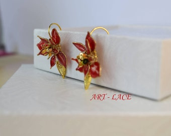 Poinsettia flower studs Chinese Bridal earring Red wedding Red flower drop earrings wire resin flower Bridesmaid earrings Spring earrings