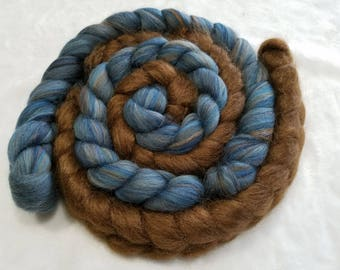 Multi-Colored Merino Denim and Brown Alpaca/Silk 70/30 Combed Top - 2 oz each  - Wool Spinning Roving Fiber
