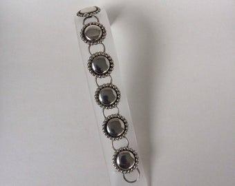 Vintage Modern Mid Century Danecraft 7 Beaded Round Link Bracelet