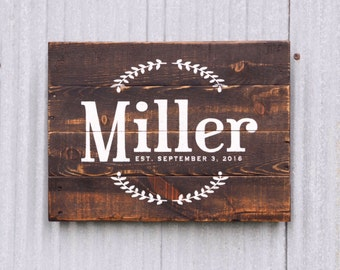 Wedding Gift Pallet Sign, Name Est Sign, Last Name Established Date Sign, Est Date Sign, Wood Sign, Wedding Decor, Anniversary Gift,