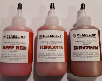 Glassline Deep Red Terracotta Brown Fusing Glass Paints Set of 3 - Shades of Clay