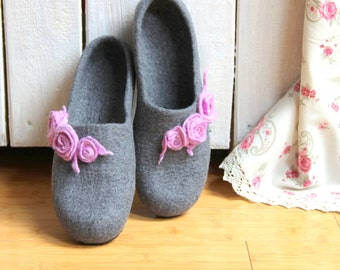 Cute House Slippers From Grey Organic Wool With Hearts In