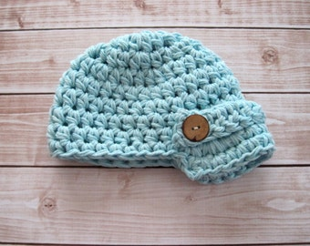 Newborn Newsboy Hat, Baby Boy Hat, Infant Crochet Hat, Baby Beanie, Infant Beanie, Blue Baby Hat, Hat for Boys