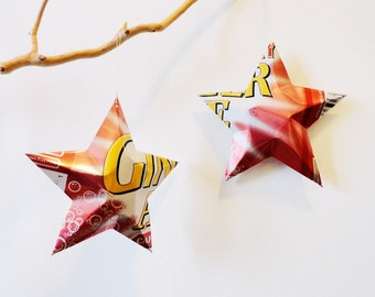 Cranberry Ginger Ale Star Red and Gold Gift Toppers Ornaments Aluminum Can Upcycled