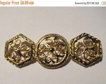 ON SALE Vintage Ornate Gold Tone Open Work Pin Item K # 82