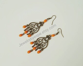 Orange Earrings Dangle Earrings Boho Earrings Bohemian Earrings Vintage Drop Earring Long Boho Earrings Retro Bridesmaid Tribal Chandelier