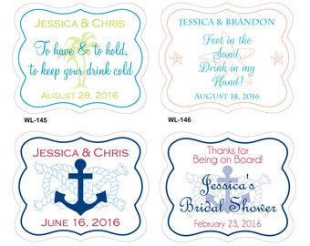 140 - 2 x 1.625 inch Die Cut Beach Theme Glossy Waterproof Wedding Stickers -many designs to choose - change designs to any color or wording