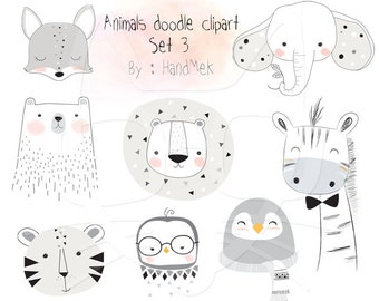 Animals doodle set 3, Woodland Clipart ,Animals clipart Instant Download PNG file - 300 dpi