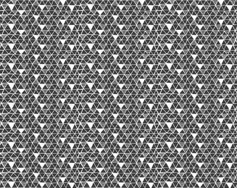 PANDA-RAMA - Rice Paper in Black - Triangle Geometric Cotton Quilt Fabric - by Maude Asbury for Blend Fabrics - 101.129.03.2 (W4285)