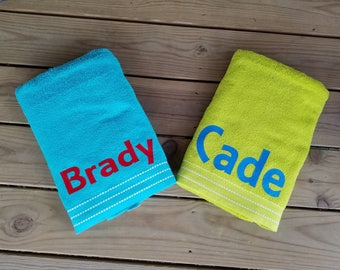 Personalized towels, personalized kids beach towels, personalized beach towels