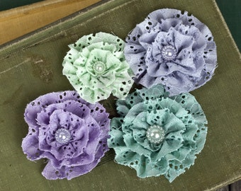 NEW: Prima Pageant - Blue Pastel 567149 Eyelet cotton Ruffled Rosette fabric flowers with Medallion pearl center.