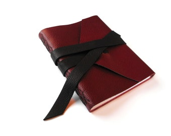 Lined Leather Journal Red with Black Double Wrap Tie