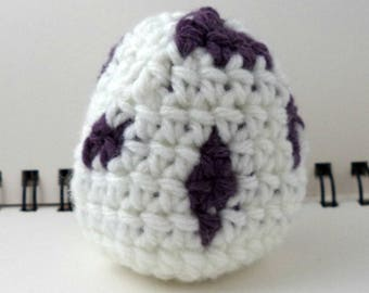 Crocheted Monster Egg - White and Purple