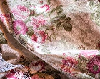 "EXCLUSIVE beige linen tablecloth 47"" x 57'' with white linen lace trim, rose print, towel, napkins, wedding, christmas, table decoration"