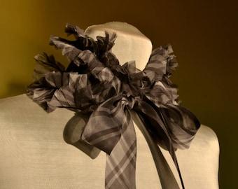 Gray Organza Detachable Ruffle Collar / Plaid Gray Pleated Organza Chiffon Collar