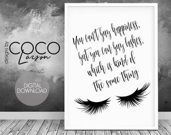 Eye lashes print, lashes poster, lashes quote, eye lashes wall art, lashes, makeup lashes prints, digital print, black lashes, bedroom print