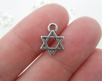 BULK 50 Star of David charms antique silver tone R9