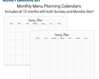 INSTANT DOWNLOAD: Menu Planner Printables - 64 sheets, PDF
